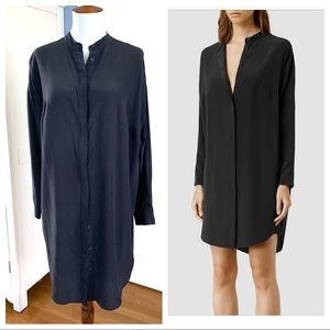 All Saints black helle silk shirt dress
